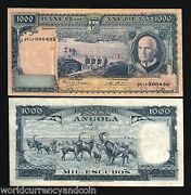 Angola 1000 1,000 Escudos P98 1970 Herd Dam Xf Africa Portugal Money Bank Note