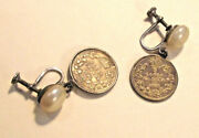 Canadian Coin Sweatheart Earrings Dv06 1905 / 1908 5 Cent Silver Coins