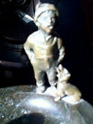 Antique Deco Bronze And Marble Cigar Ashtray With Boy And Dog His First Smoke