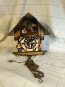 Vintage German Wall Cuckoo Clock Dancing Round Antique Music Box For Parts