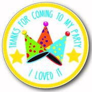 Birthday Hat Boy / Girl Thank You Stickers Party Gift Cone Card And Bag Labels