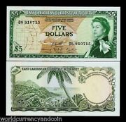 East Caribbean States 5 Dollars P14 H 1965 Boat Queen Unc Running Pair, 2 Note