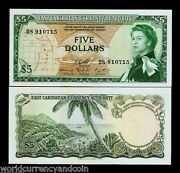 East Caribbean States 5 Dollars P14 H 1965 Boat Queen Unc Running Pair 2 Note