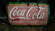Antique Porcelain Coca Cola Delicious And Refreshing Coke Sign 1920