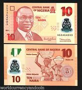 Nigeria 10 New 2011 Mismatch 2 Different Error Serial No's Unc Polymer Currency