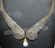 12.50ct Rose Cut Diamond Antique Look 925 Silver Pearl Gemstone Necklace