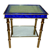 Lapis Sapphire Blue Side Table Midcentury Modern Accent End Bamboo