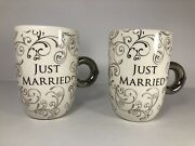 Just Married Set Of 2 Mugs Silver By Ganz Discontinued
