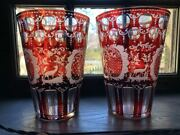 Pr Large Bohemian Ruby Cut To Clear Beer Flip Glasses 1800s Stags And Castles