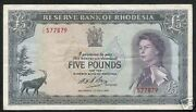 Rhodesia 5 Pounds P-29 1966 Zimbabwe Queen Antelope Rare Currency Money Banknote