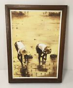Original Peco Yeh Rice Field Workers Painting Signed Taiwanese Chinese 1960s 70s