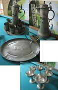 Kayserzinn Pewter Boar Horse Stag Tankard And Cups - Tray-cups W/ Insert Pick1