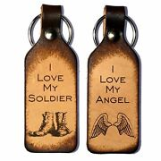 I Love My Angel And I Love My Soldier Leather Keychains