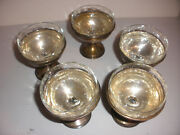 Antique Alvin Lot Of 5 Sterling Silver Sherbet Dessert Cups Etched Glass Inserts