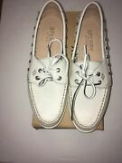 New Womenand039s 8 1/2 M Sperry A/0 Haven Leather Light Grey Boat Shoe Sts95544
