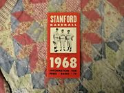 1968 Stanford Baseball Media Guide Yearbook Bob Boone Program Mark Marquess Ad