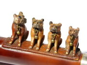 Antique Meerschaum Pipe Cheroot Holder, 4 Carved Pug Dogs Glass Eyes And Bells