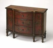Butler Sheffield Red Hand Painted Console Cabinet New