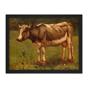 Anton Mauve Cow Country Rural Farm Painting Framed Wall Art Print 18x24 In