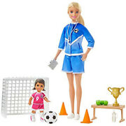 Barbie Soccer Coach Playset W/ Blonde Soccer Coach Doll, Student Doll And Accessor