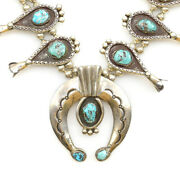 Navajo Turquoise And Silver Squash Blossom Necklace C. 1970s 28 Long