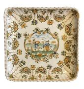 Antique 18th Ce Moustiers Olandeacuterys And Laugier French Faience Square Plate France