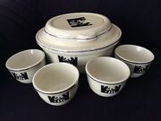 Hall 2 Qt 9 Radiance Silhouette Covered Casserole With Lid And Four Custard Cups