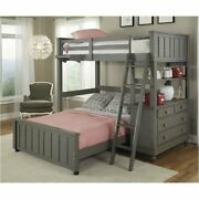 Rosebery Kids Twin Bunk With Full Lower Bed And Shelf In Stone