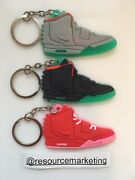 Nike Air Yeezy 2 Sneaker Keychain Pack Of 3 Solar Red Pure Platinum Red October