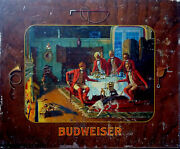 15 X 12 1/2 Flat Steel Old Lithograph Budweiser Fox Hunt Pre Pro Beer Hunt Dog