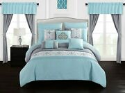 Aqua Blue Gray Medallion Embroidered 20 Pc Comforter Window Set Queen King Bed