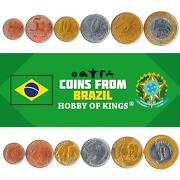 Set 6 Coins Brazil 1 5 10 25 50 Centavos 1 Real Brazilian Currency 1998 - 2021