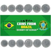 Set 6 Coins Brazil 1 5 10 25 50 Centavos 1 Real Brazilian Currency 1994 - 1997
