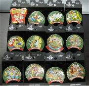 Le Rare Disney Pin Set 12 Days Of Christmas Wreath Mickey Mouse + 70 Characters
