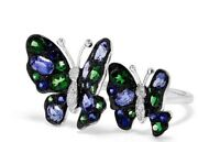 Neweffy 14k White Gold Diamond And Sapphire Butterfly Ring /size 7/ 3295