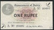 India 1 Rupee P1 B 1917 King George V Rayed Mcwatters Rare Indian Currency Note