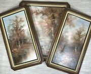 Vintage Set Of 3 Roger Brown Riverside Wall Paintings Framed Canvas Oil Paint