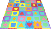 Prosource Kids Foam Puzzle Floor Play Mat With Shapes And Colors 36 Tiles 12x12