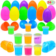 Joyin 24 Pcs Filled Easter Eggs With Mini Glitter Putty Slime, Bright Colorful