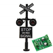 Jtd1507rp 1 Set N Scale Railroad Train/track Crossing Sign 2 Heads Led Made + On