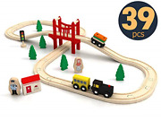 Toy Train Set- 39 Piece Wooden Track And Train Pack Fits Thomas Chuggington Kids