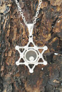 18k White Gold Rbc Floating Diamond Star Of David Pendant Necklace And Chain