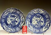 Pair Antique Imari Porcelain Japanese Early Transferware Plates Charger 19th 15