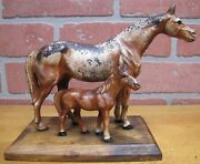 Old Pair Of Horses Cast Iron Paperweight Doorstop Art Statue On Wooden Base