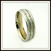 14 Kt Solid White Gold Custom Made Wedding Band For Men And Ladies / Df 0022 /