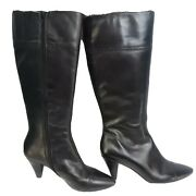 Arturo Chiang Tall Leather Boots Black Womens 9.5 M Full Zip Side 3 Heels