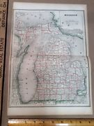 Antique Map Michigan Early 1900s Free Shipping Inv-p0905