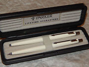 Parker Classic Set White And Silver Ballpoint Pen And 0.5mm Pencil New In Box