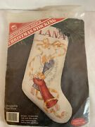 Bansi Designs Christmas Stocking Kit Counted Cross Stitch Angels Blowing Trumpet