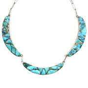 Zuni Turquoise Channel Inlay And Silver Necklace 16 C. 1940s